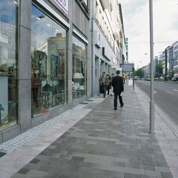 Düsseldorf (D), Graf-Adolf-Straße, Belpasso Nuvola and Umbriano Grey granite-white textured